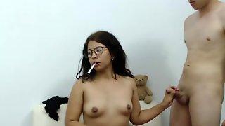Nerdy Latina Teen Smoking Blowjob