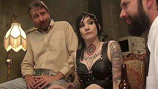 Tattooed Sub Stuffed With Big Dicks Group Sex