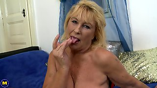 Mature Blonde MILF Regina T. Masturbates With A Dildo And Cums