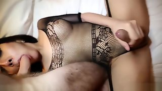Shemale Lingerie Porn With Double Cumshot