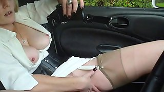 Bodacious Mature Lady In Stockings Masturbates In The Car