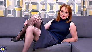 Mature Amateur Redhead Babe Jalena M. Strips And Masturbates