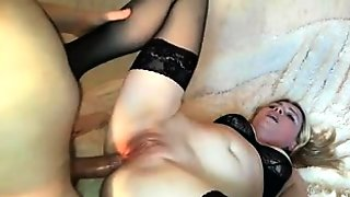 Slutty Blonde Wife In Stockings Takes A Meat Pole Up Her Ass