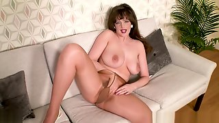 Busty Brunette Fingering Her Wet Hairy Pussy Shiny Pantyhose