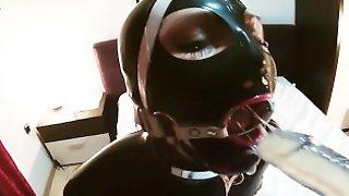 Black Latex Slave Slut With Ring Gag Deepthroated Cock, Dildo & Fucked Hard