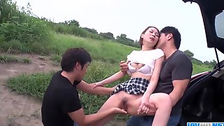 Steamy Outdoor Japan Threesome Sex With Mao Mizusawa