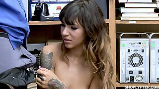 Suspected Slender Chick Kitty Carrera Is Fucked By Lewd Cop Right On The Table