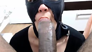 Masked Amateur Wife Welcomes A Huge Black Cock In Her Mouth