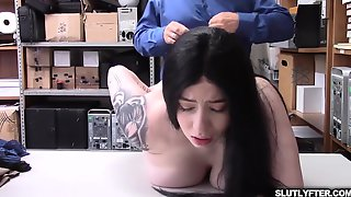 Ebony Haired Nubile Heads Down On Her Knees And Deepthroat The LP Officer