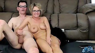 Stacked Blonde Mom Blowing And Rimming Her Lover On Webcam
