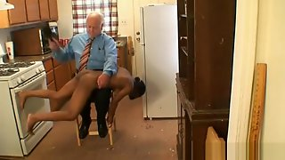Young Black Chick Spanked By Fat Old White Man