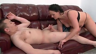 She Jacks Off His Small Cock And He Cums