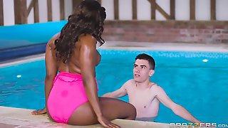A Teenager Jordi Bangs Busty Ebony Milf And A Hot Redhead Teen By The Pool