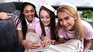 Horny Pilot Fucks Three Pretty Hot Young Stewardesses In Sexy Uniform