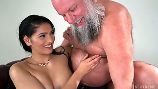 Buxom And Sexy Beauty Ava Black Rides Older Mans Strong Cock On Top