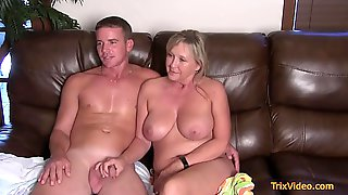 During The Movie Blonde Milf Becomes Horny So She Jumps On A Penis