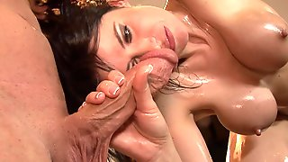 Whore Gets Oiled Up, Greased Up And Rear End  - Mature