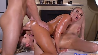 Two Astonishing Blonde Ladies Getting A Nice Oily Threesome