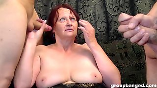 Inked Teen And A Mature Redhead Take A Lot Of Dicks And Cum In An Orgy