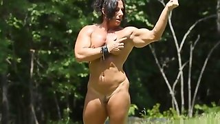 Muscle Woman Naked In Field