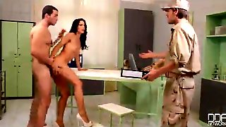 Nurse Fucks Two Soldiers - Hot Threesome Porn