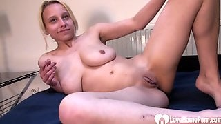 Blond Hair Girl Beauty Puts On A Solo Masturbating Show