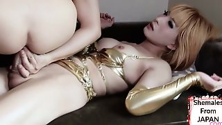 Super Hot Ash-blonde Asian Transsexual Damsel Tears Up