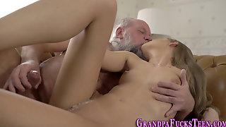 Teen Rides Grandpas Face And Cock