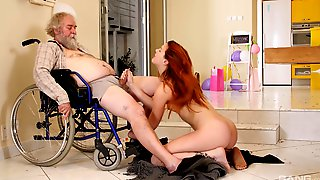 Charli Red Fucks Older Man After She Gives Him A Blowjob In The Wheelchair