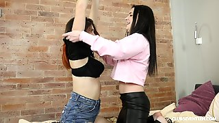 Sasha Mamaeva Gets Her Pussy Filled With A Big Sex Toy By A Girl