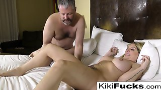 Kiki Makes Her Creepy Husband Eat Cum Off Her Body