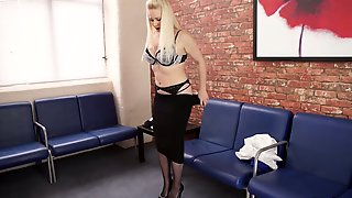 Hot Striptease In The Office By Lustful Chubby Secretary With Big Boobs Megan