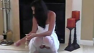 Marias Nylon Fantasies With Anal Beads In White Stockings