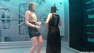 Fully Clothed Bitches Dance Under The Water Jet In Erotic Mode
