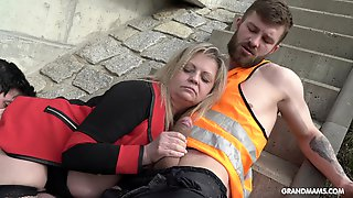 Construction Workers Pound A Mature Blonde Slut Outdoors
