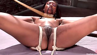 Ebony Sweetie Chanell Heart Gets Tied Up And Drilled By A White Guy