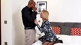 Blonde Alby Daor Is Ready For Black And Hard Penis On The Bed