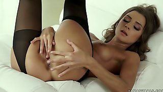 Babe In Black Stockings Maria Rya Finds It Awesome To Tickle Her Twat
