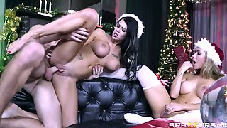 Lucky Lad Fucks Two Busty Hotties In A Festive Threesome