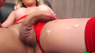 Smoking Torrid Tgirl Blondie In Crimson Undergarments Solo