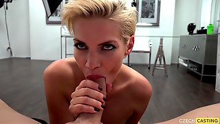 Short Haired Blond Rides Male Pole At Casting - Point-of-view