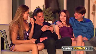 Hot Couple Try Swinger Group And Foreplay By The Pool
