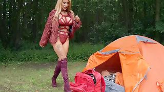 Tattooed Alice Judge Having Fun During Camping