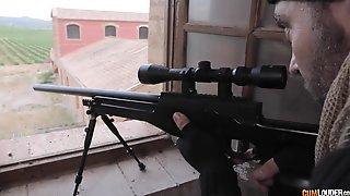 Sniper - Busty Brunette Anissa Kate In Military Fetish Hardcore