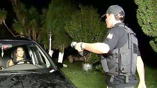 Sexy Nicolly & Carol Fucks With Policeman Outside