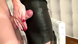 Cum Stained Leather Skirt