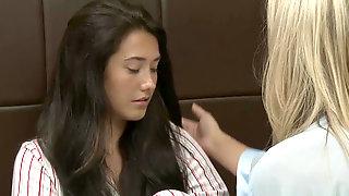 Mature Hottie Simone Sonay Seducing Her Pretty Stepdaughter Eva Lovia