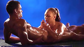Oiled Girl Gets To Play With A Dick