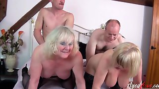 AgedLovE Sex Orgy Sex Orgy Of Two Milf Couples Together