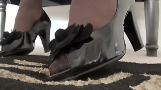ASMR PANTYHOSE HOSIERY AND TOES WITH BLACK PATENT LEATHER TOE OUT SHOE MODE